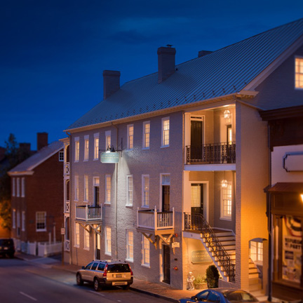 Dusk on Main Street looking The Marshall Building, circa 1809